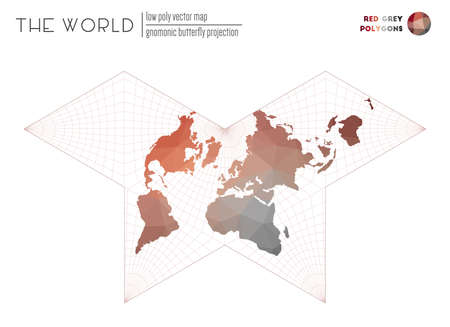 Abstract geometric world map. Gnomonic butterfly projection of the world. Red Grey colored polygons. Energetic vector illustration.