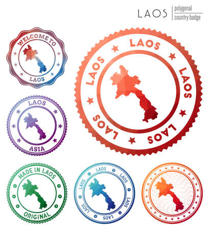 Laos badge. Colorful polygonal country symbol. Multicolored geometric Laos set. Vector illustration. 일러스트