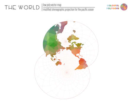 World map in polygonal style. Modified stereographic projection for the Pacific ocean of the world. Colorful colored polygons. Elegant vector illustration. 일러스트
