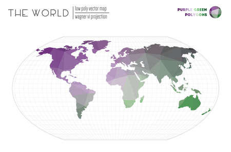 Abstract world map. Wagner VI projection of the world. Purple Green colored polygons. Elegant vector illustration.