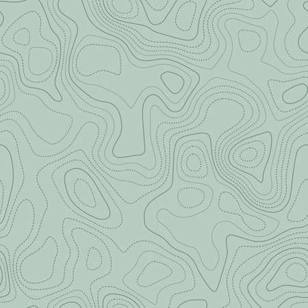 Abstract topography. Actual topographic map in green tones, seamless design, exceptional tileable pattern. Vector illustration.