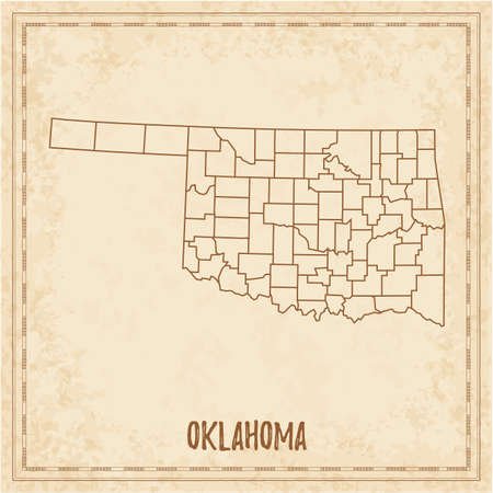Pirate map of Oklahoma. Blank vector map of the Us State with counties. Vector illustration.