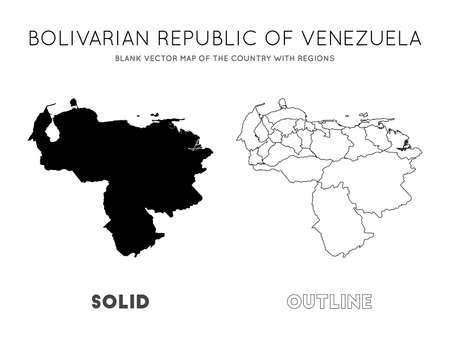 Venezuela map. Blank vector map of the Country with regions. Borders of Venezuela for your infographic. Vector illustration.