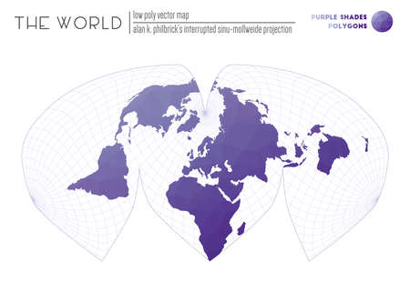 Polygonal map of the world. Alan K. Philbricks interrupted sinu-Mollweide projection of the world. Purple Shades colored polygons. Awesome vector illustration.
