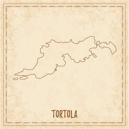 Pirate map of Tortola. Blank vector map of the Island. Vector illustration. 일러스트