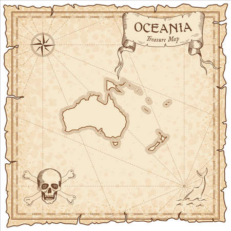 Oceania pirate map. Ancient style map template. Old continent borders. Vector illustration.