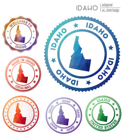 Idaho badge. Colorful polygonal us state symbol. Multicolored geometric Idaho  set. Vector illustration. Иллюстрация