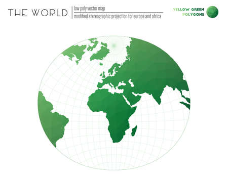 Abstract world map. Modified stereographic projection for Europe and Africa of the world. Yellow Green colored polygons. Stylish vector illustration.