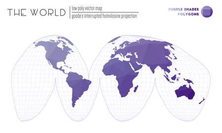 Polygonal world map. Goodes interrupted homolosine projection of the world. Purple Shades colored polygons. Stylish vector illustration.