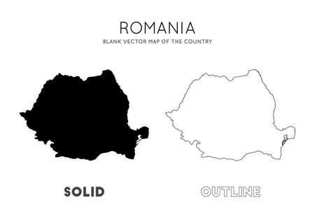 Romania map. Blank vector map of the Country. Borders of Romania for your infographic. Vector illustration.