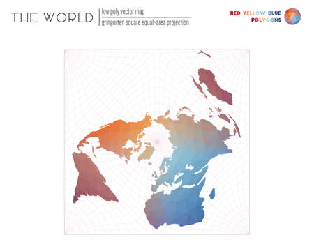 World map with vibrant triangles. Gringorten square equal-area projection of the world. Red Yellow Blue colored polygons. Contemporary vector illustration. 일러스트
