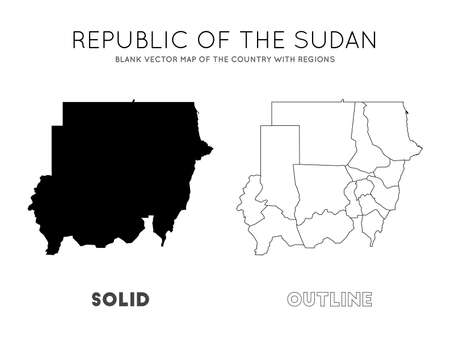 Sudan map. Blank vector map of the Country with regions. Borders of Sudan for your infographic. Vector illustration.  イラスト・ベクター素材