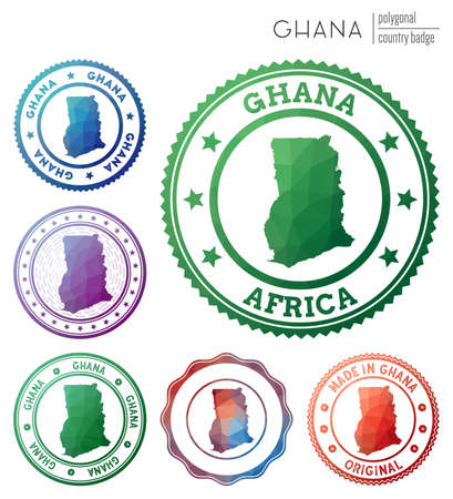 Ghana badge. Colorful polygonal country symbol. Multicolored geometric Ghana set. Vector illustration.