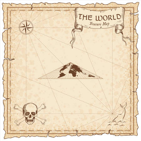 World treasure map. Pirate navigation atlas. Collignon equal-area pseudocylindrical projection. Old map vector.