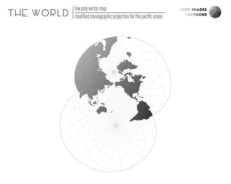 Polygonal map of the world. Modified stereographic projection for the Pacific ocean of the world. Grey Shades colored polygons. Creative vector illustration.