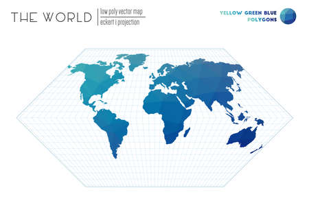 World map in polygonal style. Eckert I projection of the world. Yellow Green Blue colored polygons. Elegant vector illustration. 일러스트