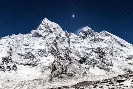 Everest mountain panoramic view on a starry night. Gorgeous photo.