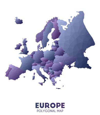 Europe Map. actual low poly style continent map. Memorable vector illustration. Illusztráció