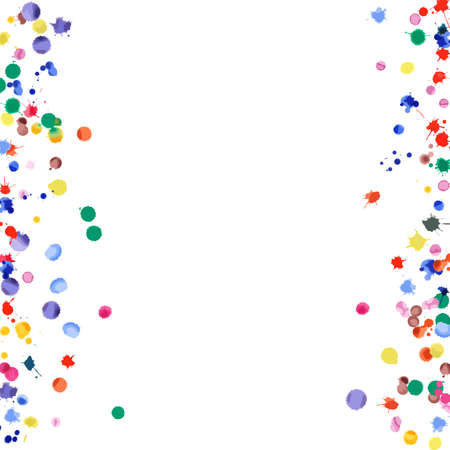Watercolor confetti on white background. Rainbow colored blobs square borders. Colorful bright hand painted illustration. Happy celebration party background. Alluring vector illustration. Illusztráció