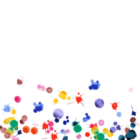 Watercolor confetti on white background. Rainbow colored blobs square gradient. Colorful bright hand painted illustration. Happy celebration party background. Actual vector illustration.