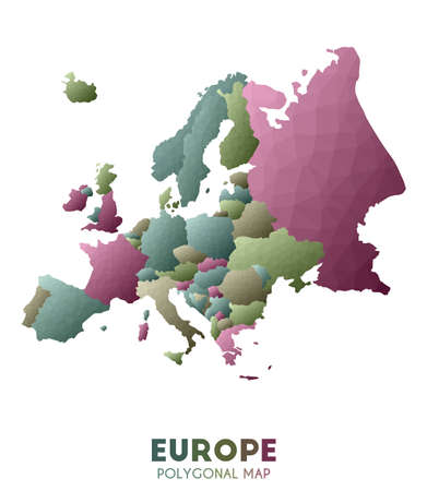 Europe Map. actual low poly style continent map. Impressive vector illustration.
