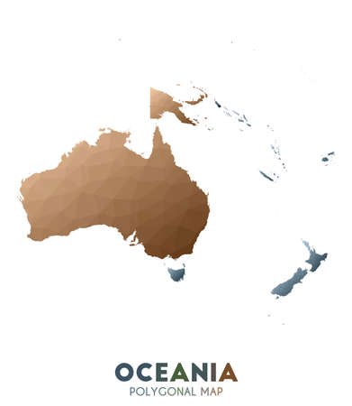 Oceania Map. actual low poly style continent map. Terrific vector illustration.