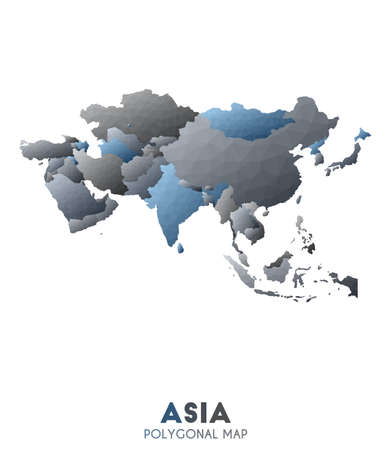 Asia Map. actual low poly style continent map. Excellent vector illustration.
