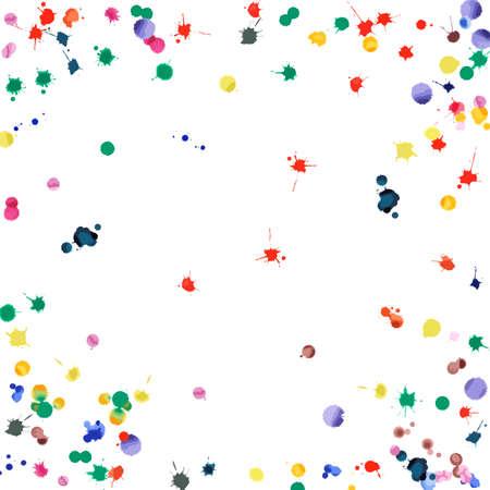 Coriandoli dell'acquerello su fondo bianco. Scenetta quadrata delle chiazze color arcobaleno. Illustrazione dipinta a mano luminosa colorata. Sfondo festa felice celebrazione. Illustrazione vettoriale emotivo. Vettoriali