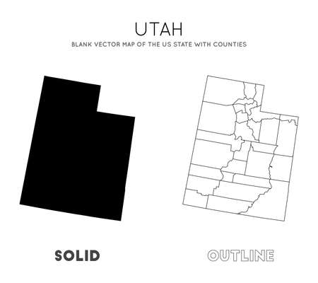 Utah map. Blank vector map of the Us State with counties. Borders of Utah for your infographic. Vector illustration. 向量圖像