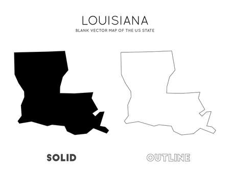 Louisiana map. Blank vector map of the Us State. Borders of Louisiana for your infographic. Vector illustration.