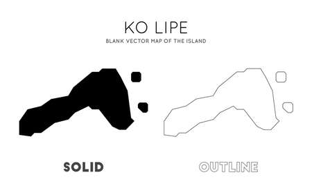 Ko Lipe map. Blank vector map of the Island. Borders of Ko Lipe for your infographic. Vector illustration.  イラスト・ベクター素材