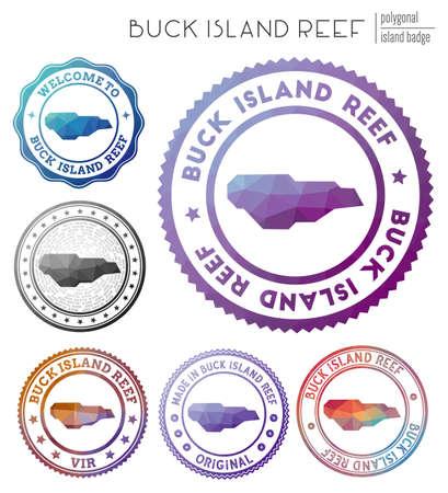 Buck Island Reef badge. Colorful polygonal island symbol. Multicolored geometric Buck Island Reef set. Vector illustration.