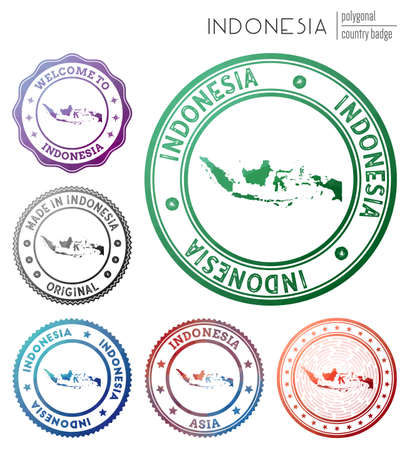 Indonesia badge. Colorful polygonal country symbol. Multicolored geometric Indonesia set. Vector illustration.