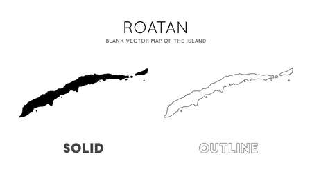 Roatan map. Blank vector map of the Island. Borders of Roatan for your infographic. Vector illustration.