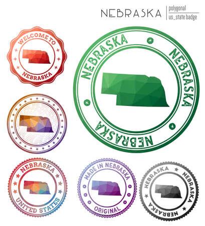 Nebraska badge. Colorful polygonal us state symbol. Multicolored geometric Nebraska set. Vector illustration. Illusztráció