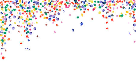 Watercolor confetti on white background. Rainbow colored blobs wide falling rain. Colorful bright hand painted illustration. Happy celebration party background. Stunning vector illustration.