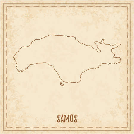 Pirate map of Samos. Blank vector map of the Island. Vector illustration.