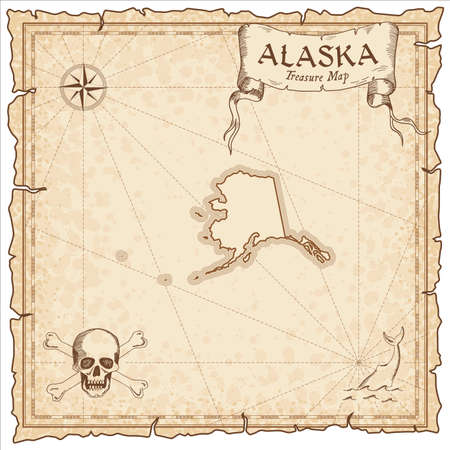 Alaska pirate map. Ancient style map template. Old us state borders. Vector illustration.