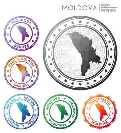 Moldova badge. Colorful polygonal country symbol. Multicolored geometric Moldova set. Vector illustration.
