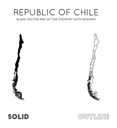 Chile map. Blank vector map of the Country with regions. Borders of Chile for your infographic. Vector illustration. Фото со стока - 130107046