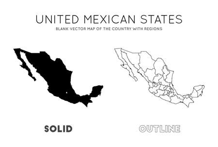 Mexico map. Blank vector map of the Country with regions. Borders of Mexico for your infographic. Vector illustration.