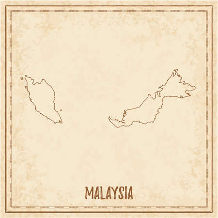 Pirate map of Malaysia. Blank vector map of the Country. Vector illustration.