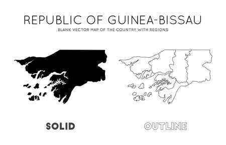 Guinea-Bissau map. Blank vector map of the Country with regions. Borders of Guinea-Bissau for your infographic. Vector illustration. Иллюстрация
