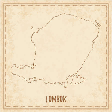 Pirate map of Lombok. Blank vector map of the Island. Vector illustration.