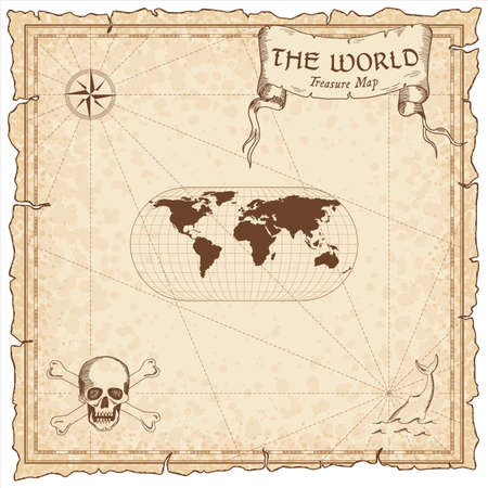 World treasure map. Pirate navigation atlas. Eckert III projection. Old map vector.