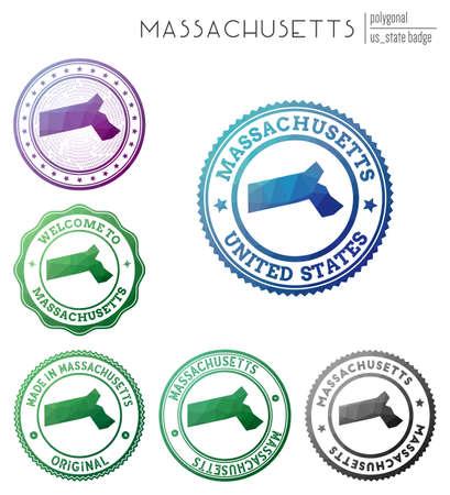 Massachusetts badge. Colorful polygonal us state symbol. Multicolored geometric Massachusetts   set. Vector illustration. Illusztráció
