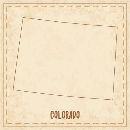 Pirate map of Colorado. Blank vector map of the Us State. Vector illustration.