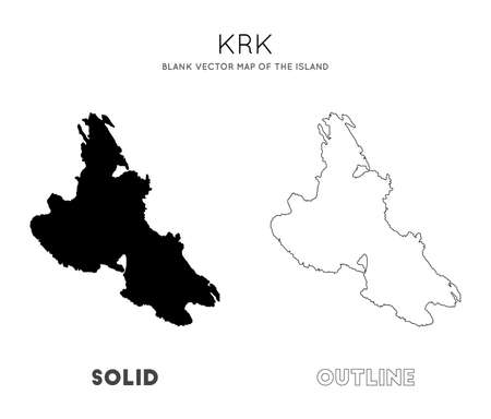 Krk map. Blank vector map of the Island. Borders of Krk for your infographic. Vector illustration.