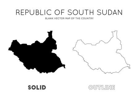 South Sudan map. Blank vector map of the Country. Borders of South Sudan for your infographic. Vector illustration. Иллюстрация