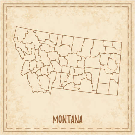 Pirate map of Montana. Blank vector map of the Us State with counties. Vector illustration. Illusztráció